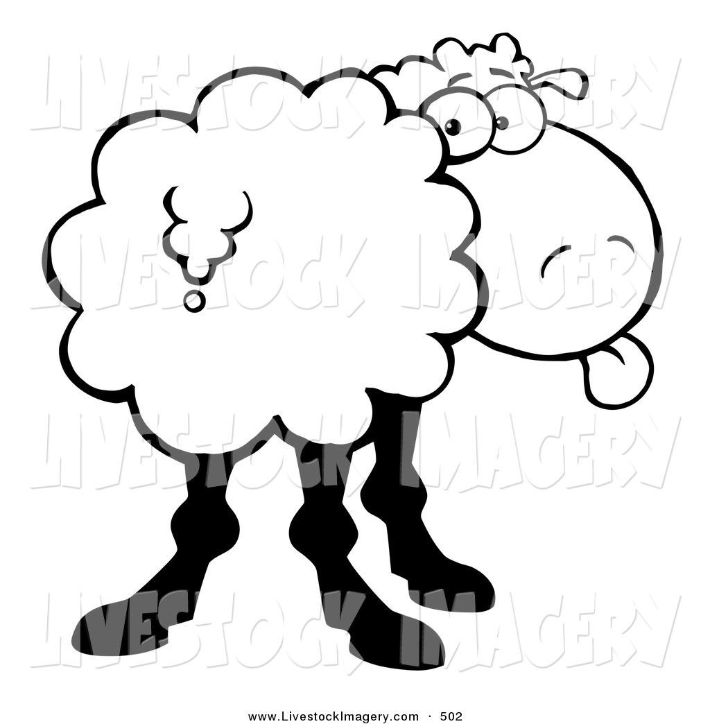 1024x1044 Clip Art Of A Black And White Coloring Page Sheep Sticking Its