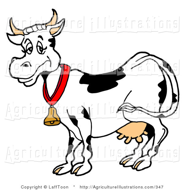 600x620griculture Clipart Of Tired Blacknd White Dairy Cow Wearing