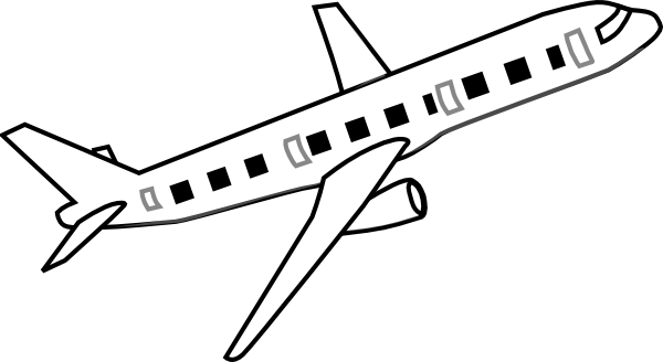 600x328 Airplane Clipart Black And White