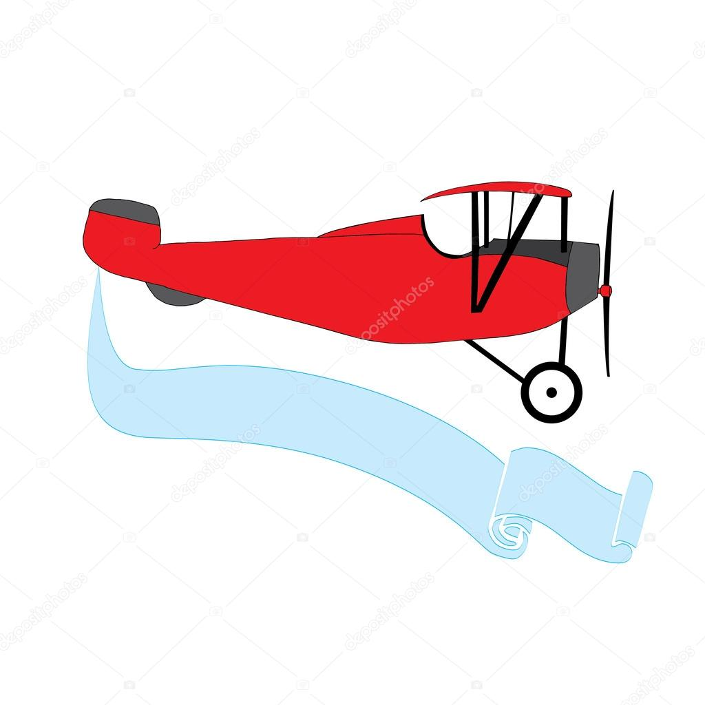 1024x1024 Red Vintage Airplane With Blue Banner Stock Vector Zelena
