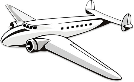 Airplane Black And White | Free download on ClipArtMag