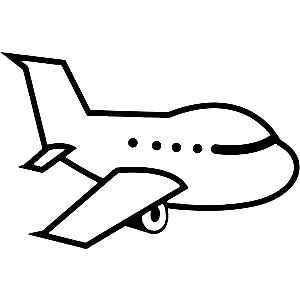 300x300 Black And White Airplane Clipart Image