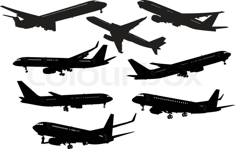 800x506 Airplane Black And White Silhouettes. Vector Illustration. Stock