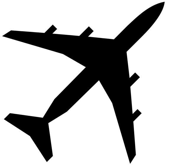 619x560 Black Clipart Airplane