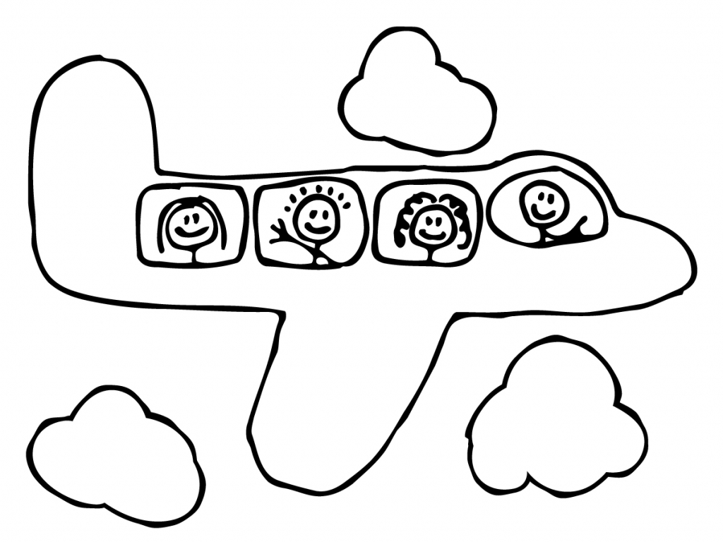1024x768 Airplane Drawing Cartoon