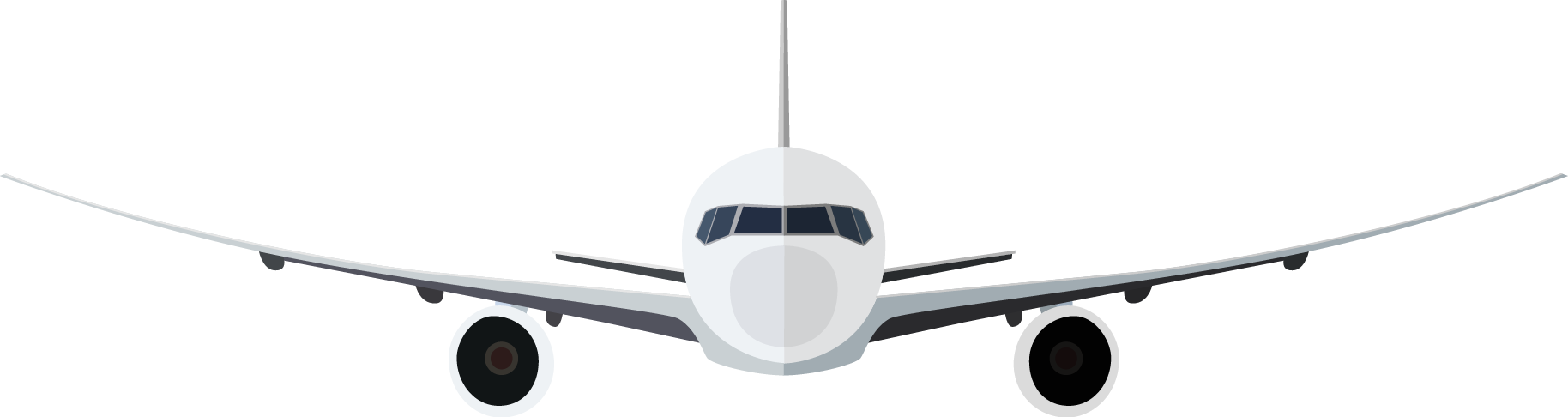 1828x486 Airplane Clipart Front View