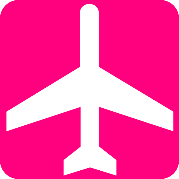 600x600 White Aeroplane With Pink Background Clip Art