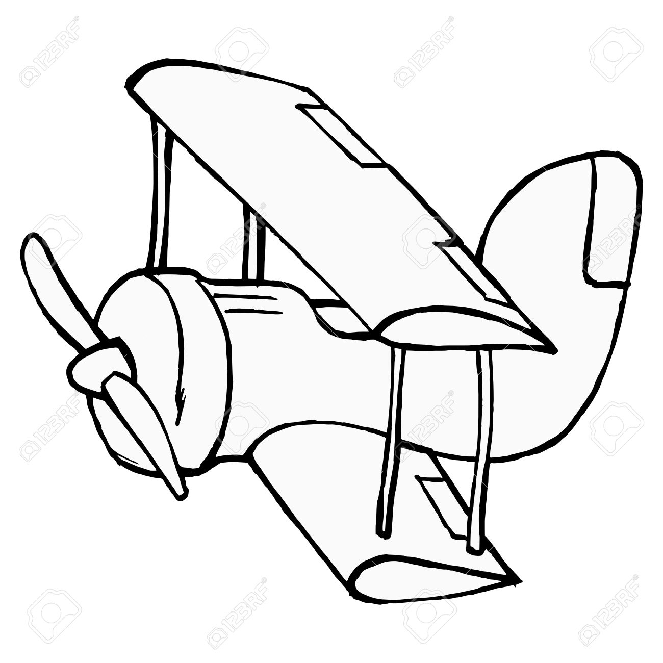 1300x1300 Hand Drawn, Cartoon, Illustration Of Toy Airplane Royalty Free