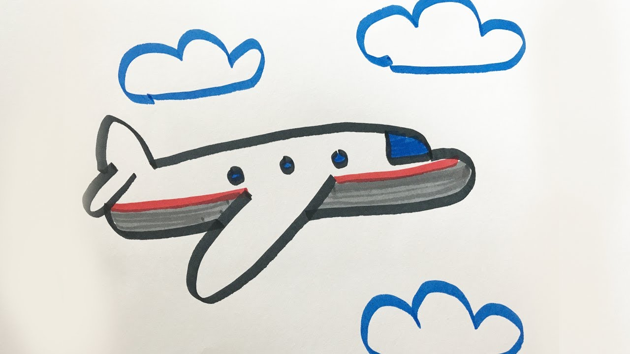1280x720 How To Draw And Color A Airplane For Kids!