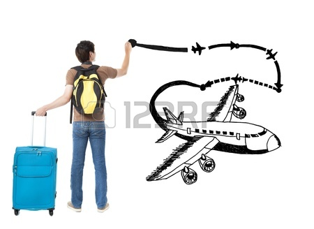 450x328 Young Businessman Drawing Airplane And World Map Stock Photo