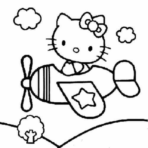 600x600 Airplane Clipart Coloring Page