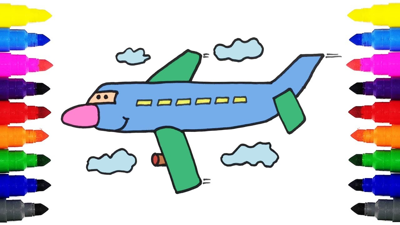 1280x720 How To Draw Airplane Kids Drawing And Coloring Airplane