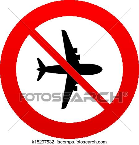 450x470 Clipart Of No Airplane Sign. Plane Symbol. Travel Icon. K18297532