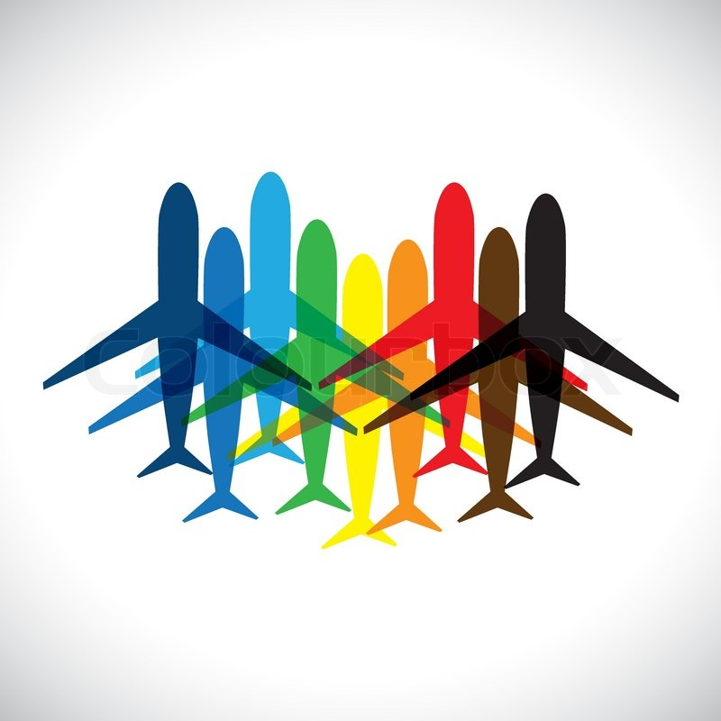 800x800 Concept Vector Graphic Abstract Colorful Airplane Iconssymbols