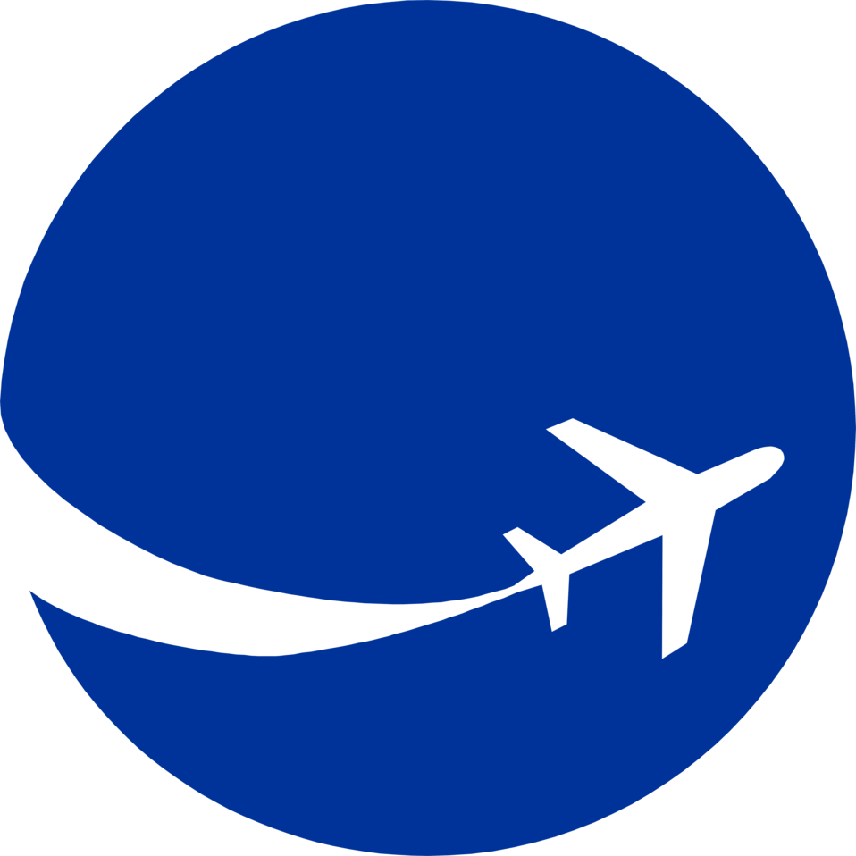 958x958 Illustration Of An Airplane Silhouette On A Blue Circle Free