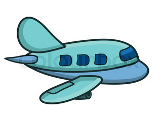 320x240 Cartoon Airplane Isolated On White Background Vector Stock