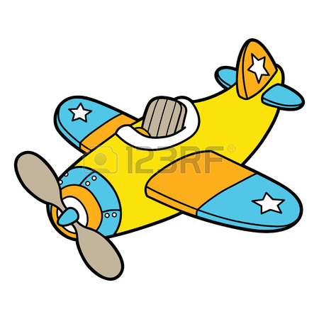 450x450 Cute Plane Outline. Vector Illustration Of Cute Cartoon Plane