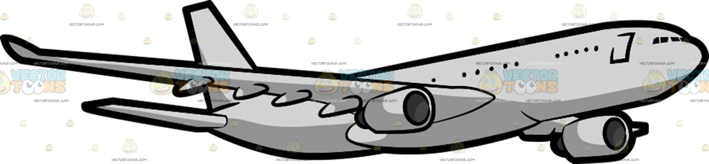 1024x237 A Commercial Plane Flying In The Air Cartoon Clipart