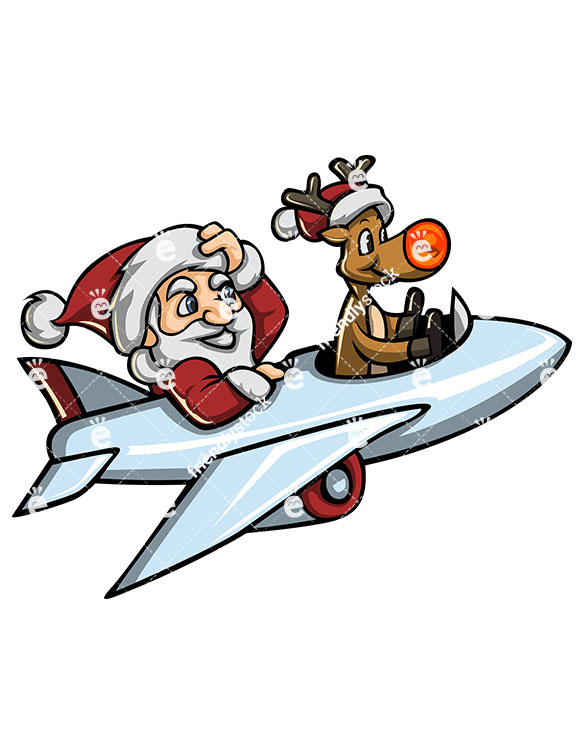 585x755 Santa And Rudolph Flying With An Airplane Cartoon Vector Clipart