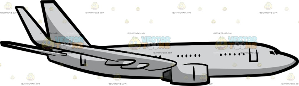1024x297 A Jumbo Jet Airplane Flying Steady In The Air Cartoon Clipart