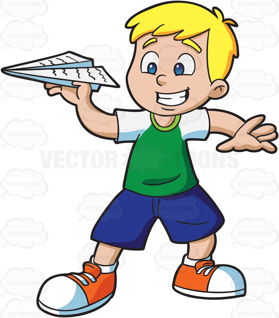 897x1024 A Young Boy Playing With A Paper Airplane Cartoon Clipart