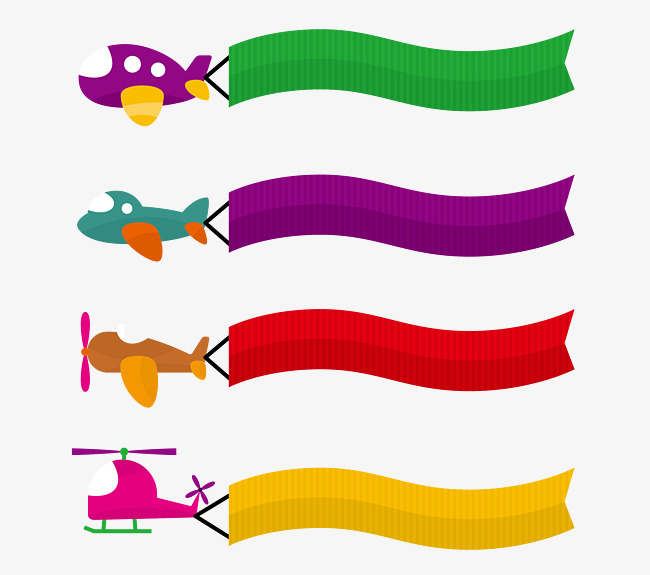 650x575 Vector Cute Color Cartoon Aircraft Banner Text Box, Aircraft