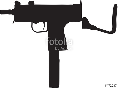 X Sub Machine Gun Clip Art With Clipping Path Stock Photo