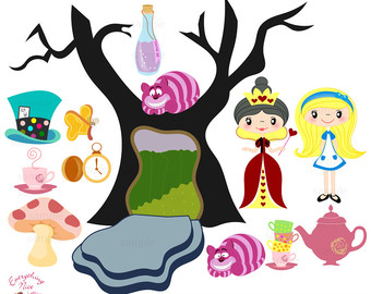 340x270 Alice In Wonderland Clip Art Etsy