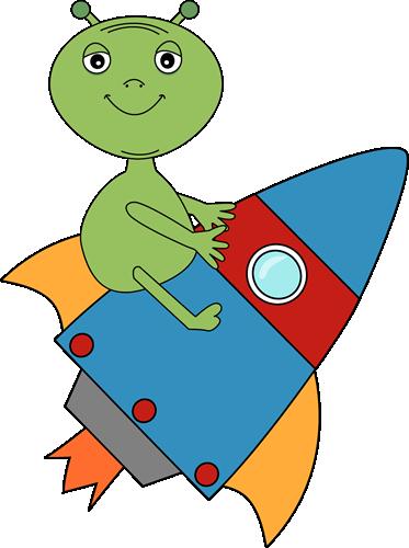 373x500 Alien Riding On A Rocket Clip Art