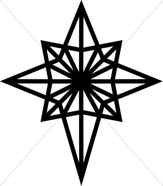 535x612 Christmas Star Clip Art Black And White