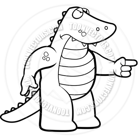 460x460 Angry Alligator (Black And White Line Art) By Cory Thoman Toon