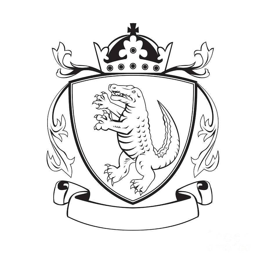 900x900 Alligator Standing Coat Of Arms Black And White Digital Art By