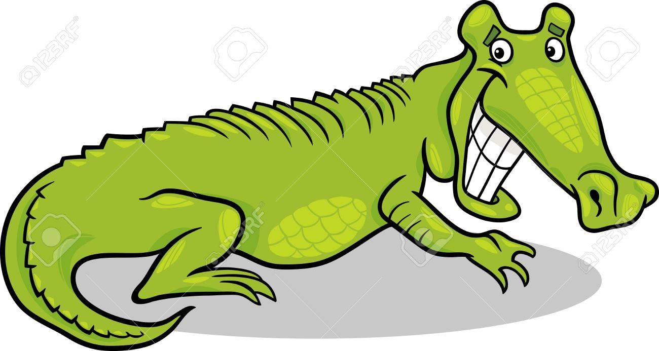 1300x693 Cartoon Illustration Of Funny Alligator Crocodile Wild Animal