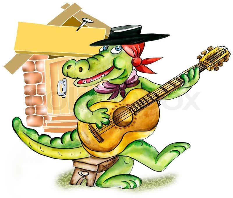 800x681 Cartoon Alligator Playing Guitar Stock Photo Colourbox