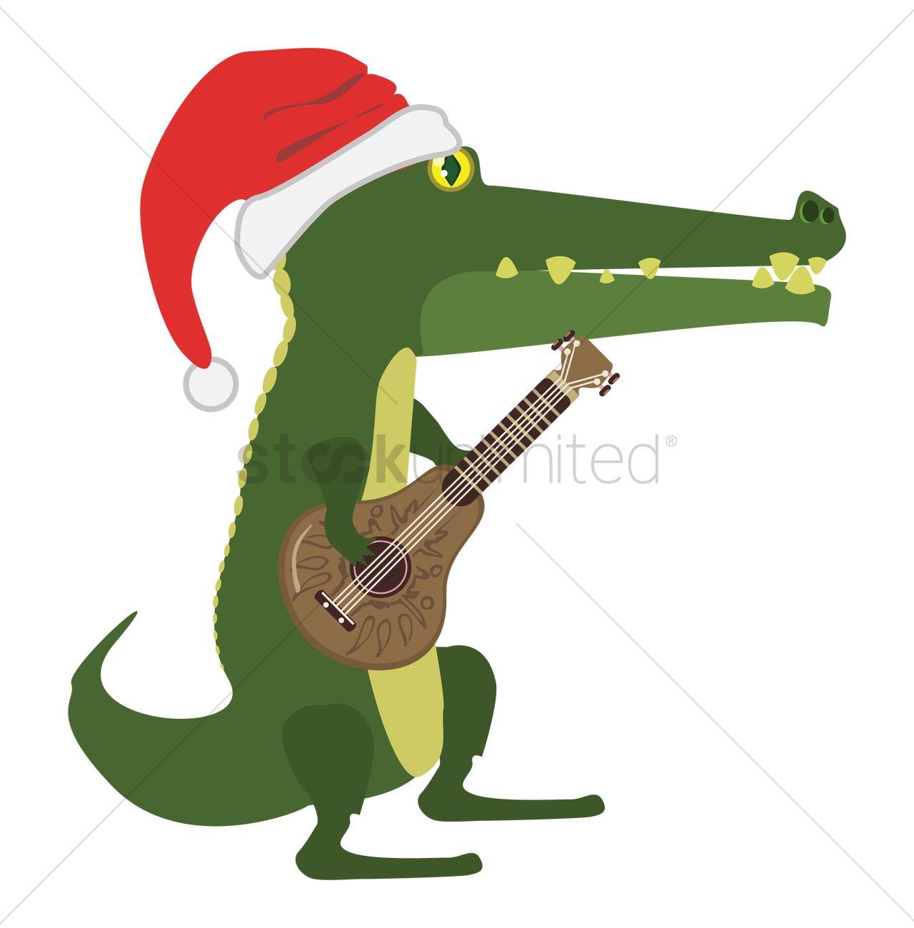 1280x1300 Cartoon Alligator Playing Guitar Vector Image
