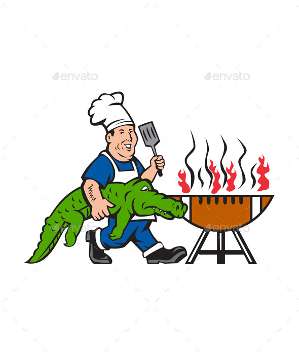 590x700 Chef Alligator Spatula Bbq Grill Cartoon By Patrimonio Graphicriver