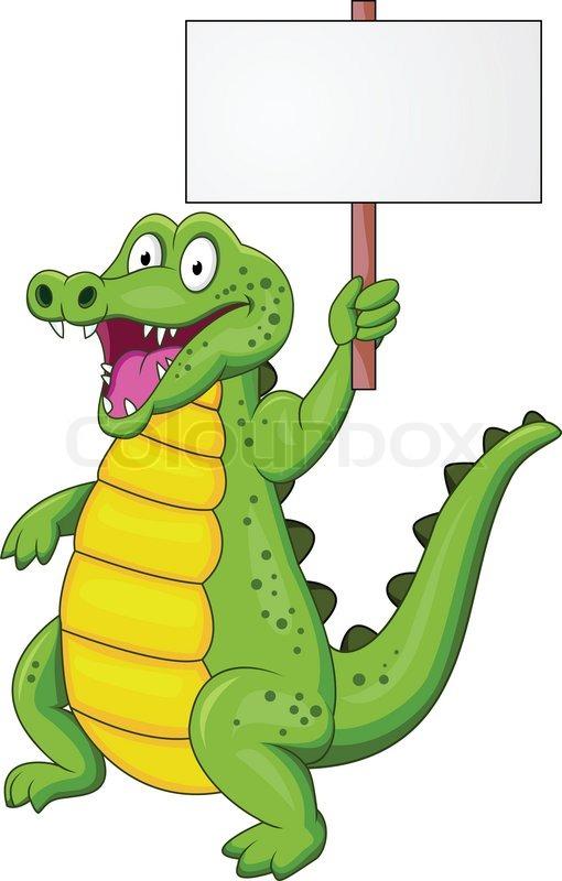 510x800 Crocodile Cartoon With Blank Sign Stock Vector Colourbox