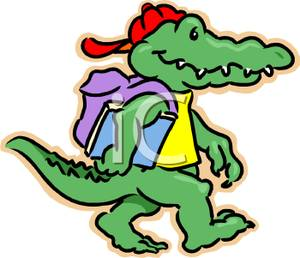 300x258 Free Clipart Image A Cartoon Alligator Wearing A Backback