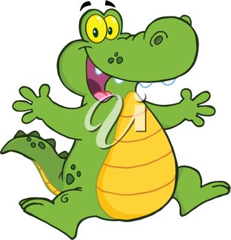 336x350 Picture Of A Cartoon Alligator Jumping In The Air In A Vector Clip