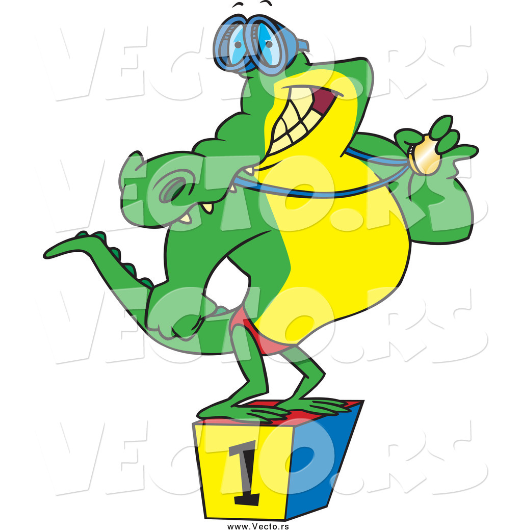 1024x1044 Vector Of Cartoon Championlligator Swimmer Standing On