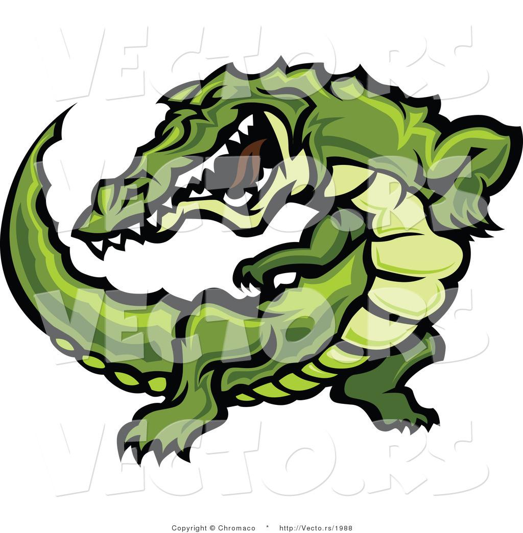1024x1044 Vector Of Aggressive Cartoon Alligator Raising Up During