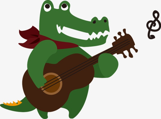 650x481 Cartoon Alligator Playing Guitar Pattern, Cartoon, Crocodile