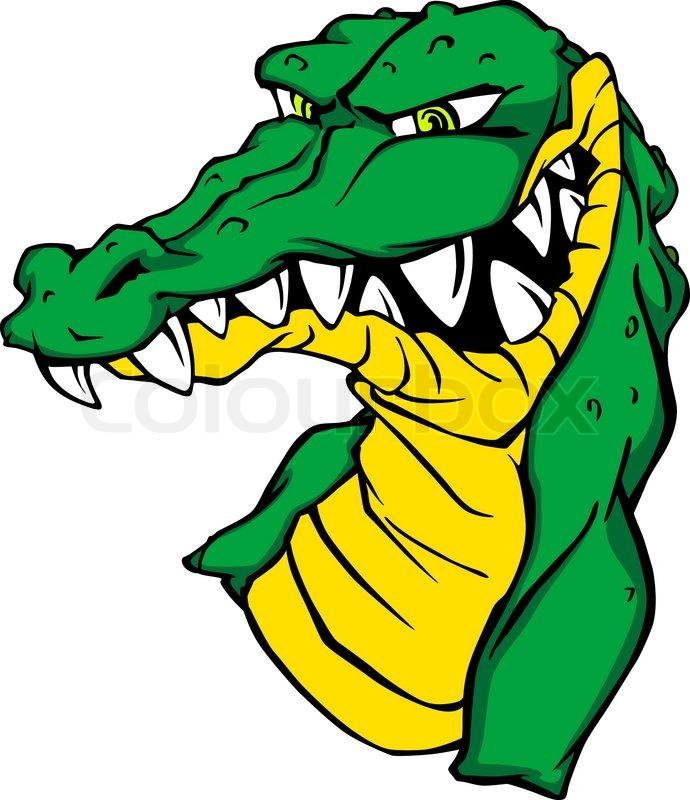 690x800 Angry Green Alligator Crocodile In Cartoon Style. Vector