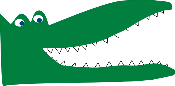 600x298 Green Crocodile Clip Art