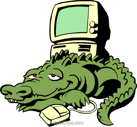 480x447 Cartoon Alligator With Computer Royalty Free Vector Clip Art