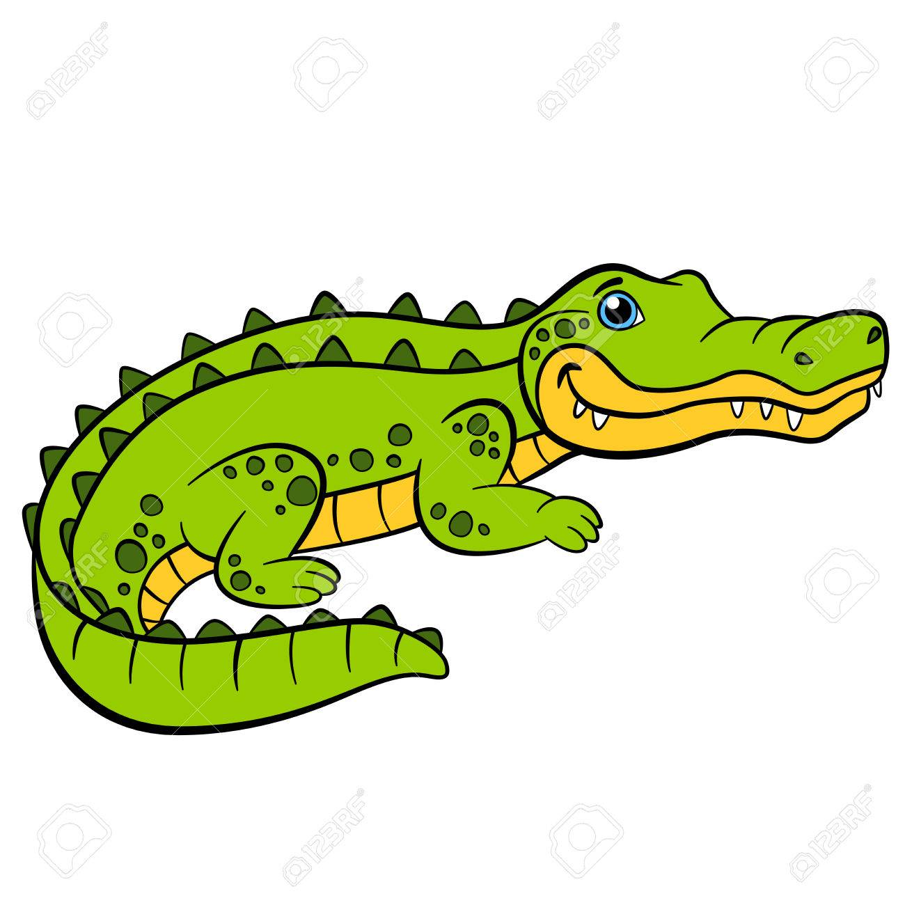 1300x1300 Cartoon Animals For Kids. Little Cute Green Alligator Smiles