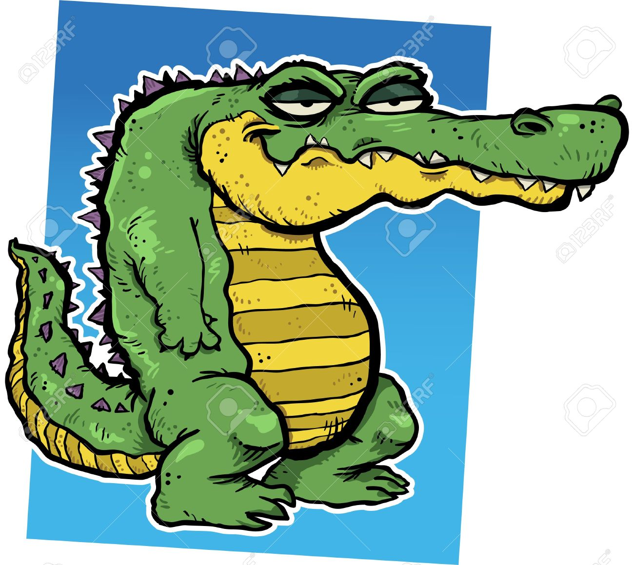 1300x1159 Illustration Of A Smirking Cartoon Alligator. Royalty Free