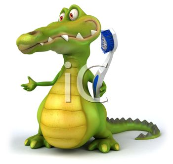 350x332 Picture Of A Cartoon Alligator Holding A Toothbrush In A Vector
