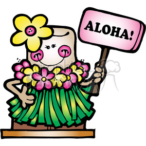 300x300 Royalty Free Smore Hawaiin Aloha Girl Col 387571 Vector Clip Art