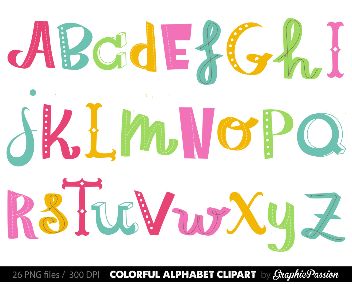 1500x1208 Handdrawn Alphabet Clipart Colorful Alphabet Digital Alphabet